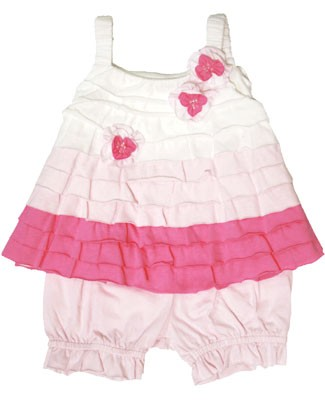 Isobella & Chloe White/Hot Pink Strappy Color Block Tiered Cherry Blossom Top & Pink Bloomer Set
