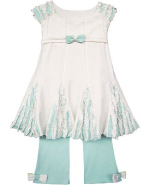 Isobella & Chloe White/Light Blue Sleeveless Top With Ruffle Godets & Light Blue Legging Set