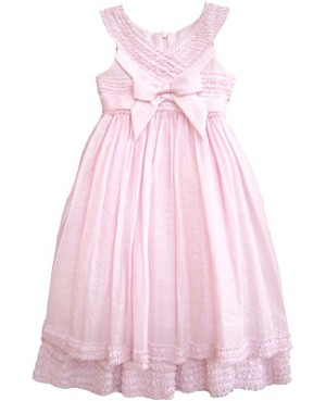Isobella & Chloe Pink Ruffle Cross Chest Dress w/ Yoke Neck