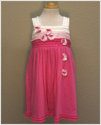 Isobella & Chloe Hot Pink/White Knit Ruffle Dress with Flowers