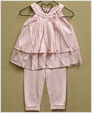 Isobella & Chloe Light Pink 2pc Woven Collar Top and Legging Set