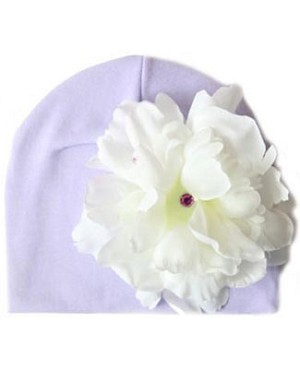 Z: Lavender with White Peony Beanie Hat