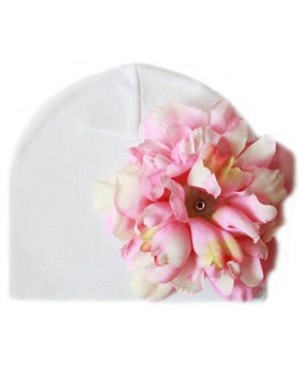 Z: White with Pink Peony Beanie Hat