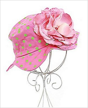 Z: Candy Pink Rose Sun Hat W/ Lime Dots