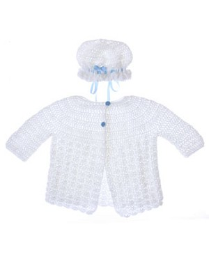 Handmade With Love White And Blue Sweater With Bonnet