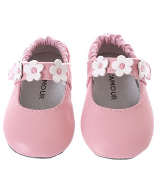 Z: L'Amour Pink Three Flower Baby Velcro Mary Jane Shoes