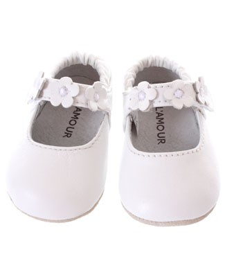 Z: L'Amour White Three Flower Baby Velcro Mary Jane Shoes