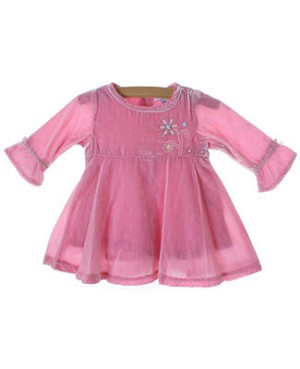 Le Top *Velvet Angel* Pink Velveteen Empire Dress w/ Floral Embroidery