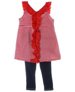 Little Maven Red/White Pin Striped Ruffle Top & Navy Jeggings