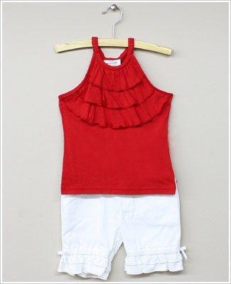 Little Maven Red Tank Top & White Short Set