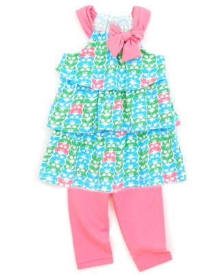 Little Maven by Tori Spelling *Palm Springs* Butterfly Print Sundress With Pink Leggings
