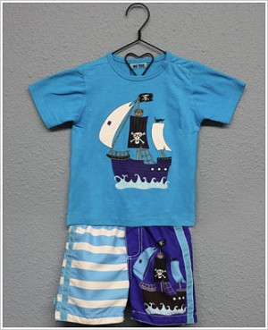 Me Too S/S Turquoise Pirate Ship Tee and Swim Shorts