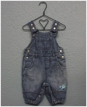 X: Me Too Denim Overalls with Blue Dragonfly