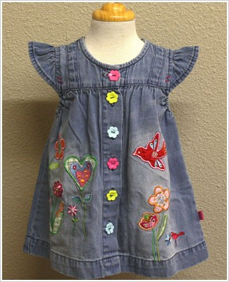 X: Me Too Denim Flutter Sleeve Dress with Flower Buttons and Embelishments