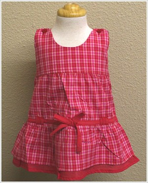 X: Me Too Red and Pink Plaid Jumper Dress