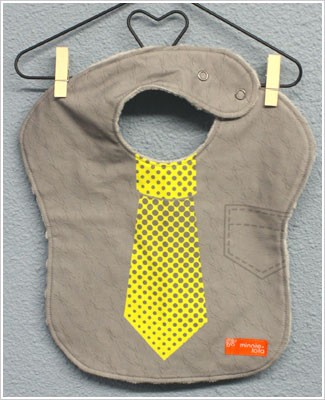 Minnie + Lola GREY W/ YELLOW TIE Dress-Up Bib