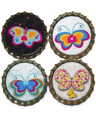 Purple Mountain New Bottle Cap Magnets - Butterflies