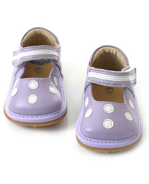 II: Rainbow Steps Lavender Leather Velcro Shoe w/ White Dots *SQUEAKS*