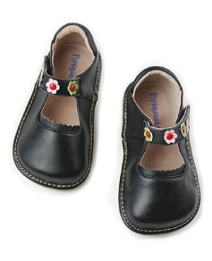 II: Rainbow Steps BLACK Leather Shoe *SQUEAK*