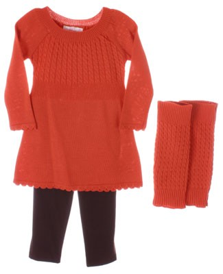 Plum Pudding Orange Sweater Top Brown Leggings And Orange Warmers