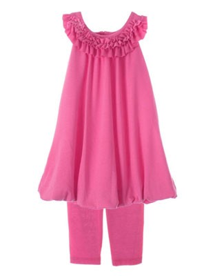 Plum Pudding Fuchsia Ruffled Yoke Neck Bubble Dress & Legging Set