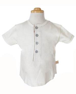 6m: Polichinelle Short Sleeve Cream and Plaid Tee W/ Buttons