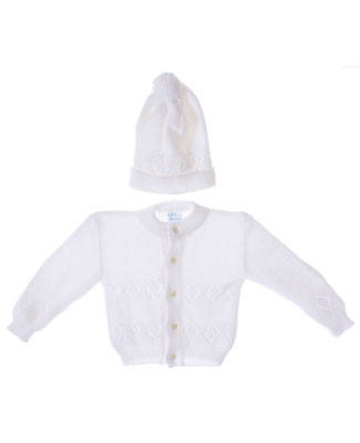 Rudin Needlecraft White Knit Button Up Cardigan and Beanie Set