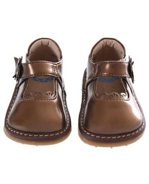 II: Rainbow Steps Patent Brown (Bronze) Flower Mary Janes *SQUEAKS*