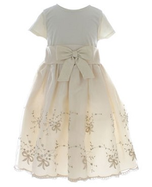II: Rare Editions Gold S/S Layered Floral Dress with Bow