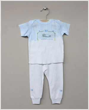 She's The One Blue/White *...The Prince Has Arrived* 2 Pc S/S Set