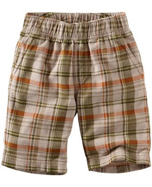Tea Tan/Olive Plaid Kecak French Terry Shorts