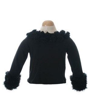 II:Ally Girl Fur Cuff Shirt *BLACK* WOW!!