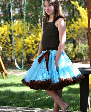 Ally Girl Pettiskirt *BLUE/BROWN* (petite - tween)