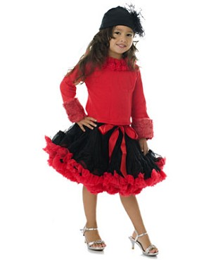 Ally Girl Pettiskirt *BLACK/RED* (petite - tween)