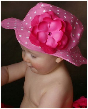 Ally Girl Candy Pink with White Polka Dot Sun Hat *With Rose*