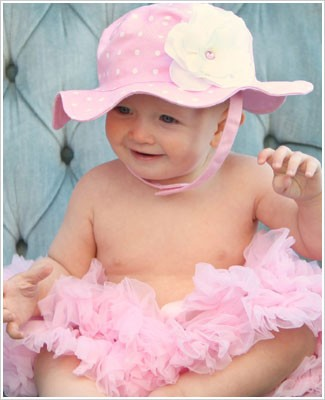 Ally Girl Light Pink with White Polka Dot Sun Hat *With Rose*