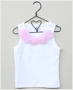 Ally Girl White Sleeveless Shirt w/ Baby Pink Flowers