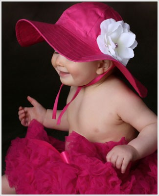 Ally Girl Raspberry Wide Brim Sun Hat *With Rose*