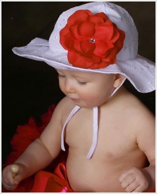 Ally Girl White Eyelet Sun Hat *With Rose*