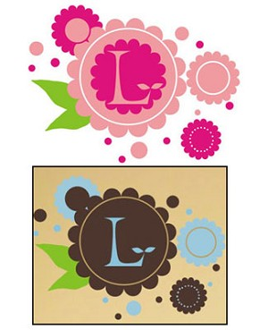Z: Alphabet Garden Designs Wall Vinyl Chocolate Flowers Wall Art