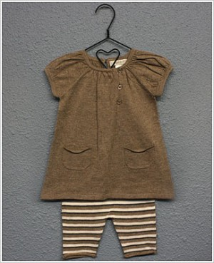 Angel Dear S/S Tan Pocketed Tunic & Tan/Grey Striped Capri Set