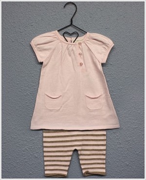 Angel Dear S/S Pink Pocketed Tunic & Pink and Tan Striped Capri Set
