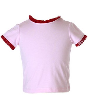 II: Baby Lulu S/s Solid Pink Tee with Red Trim