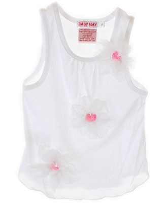 X: Baby Nay *Emily Rose* White Tri-Flower Sleeveless Shirt
