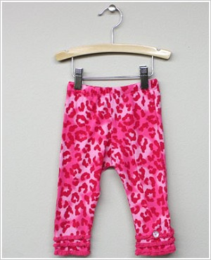 Baby Nay *Big Citizen* Leopard Dark Pink Knit Ruffle Pants