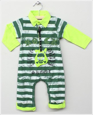 Baby Nay *Da Lil Guys* L/S Two-Fer Green Striped ROCK Romper