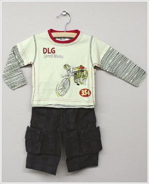 Baby Nay *Da Lil Guys* Speedworks Long Sleeve Tan Shirt and Charcoal Cargo Pant Set