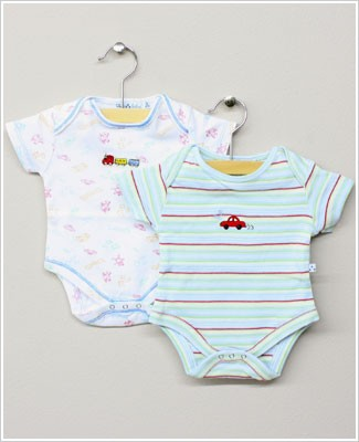 Baby Nay *Da Lil Guys* Playschool 2 PACK S/S Print & Striped Bodysuits