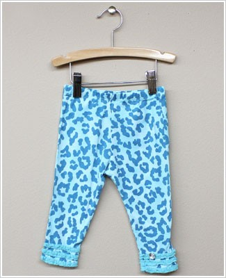 Baby Nay *Big Citizen* Leopard Turquoise Knit Ruffle Pants