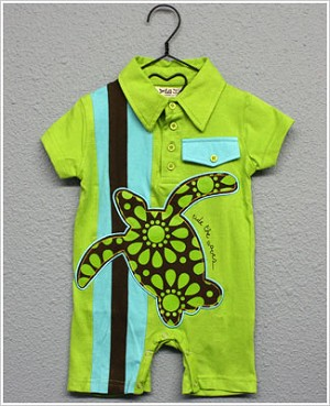 Baby Nay *Da Lil Guyz* Green Turtle Polo Romper